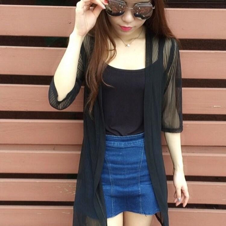 ชีฟองส่วนยาวแขนสั้นหญิงเสื้อเสื้อผ้าป้องกันแสงแดด (สีดำ)