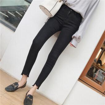 กางเกงดินสอเกาหลีกางเกงยีนส์ใหม่สลิมยืด (สีดำ)