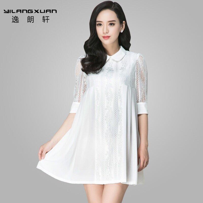 แลงหยีฉวนเวอร์ชั่นเกาหลีใหม่ลูกไม้ตุ๊กตาปกเสื้อชุด (สีขาว)