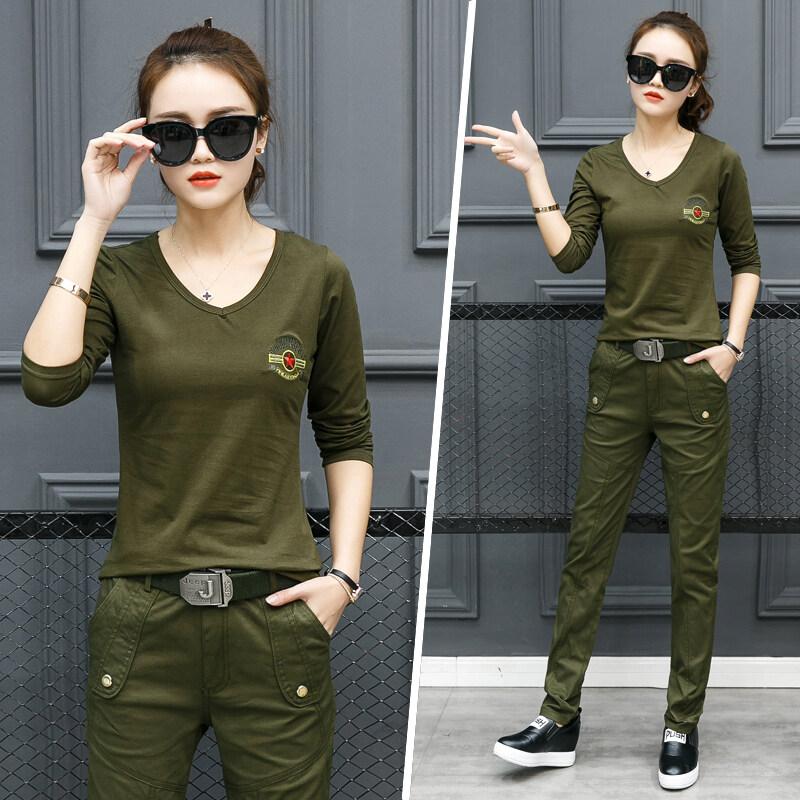 ฤดูใบไม้ผลิและฤดูใบไม้ร่วงหญิงใหม่กองทัพสีเขียวแขนยาวเสื้อเสื้อยืด (กองทัพสีเขียวชุด (เสื้อยืด + กางเกงขายาว))