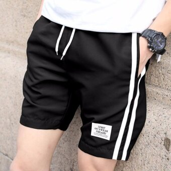 แฟชั่นแบบใหม่กางเกงลำลองขาสั้นผู้ชาย ใส่เดินทาง ออกกำลังกาย ใส่สบาย งานเนี๊ยบสีดำ - 2