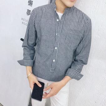 จีนลมญี่ปุ่นหนุ่มลายปกยืนขึ้นชายเสื้อลำลองแขนยาวเสื้อเชิ้ต (สีเข้ม)