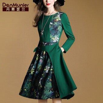 เย็บแขนยาวกระเป๋าสลิมชุดสายพิมพ์ชุด (สีเขียว)