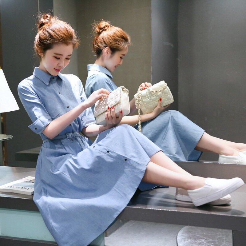 ชุดย่อยเกาหลีผ้ายีนส์ใหม่ดาวชุด (แสงสีฟ้า)