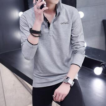 product 1507315712 89185915 0f1df69965ad4348de768fcd6afed1eb product ราคาที่ดีที่สุดสำหรับ เสื้อยืดแขนเสื้อยาวที่ปกคอเสื้อพลิกกลับของบุรุษ  สีเทาสีดำคอ