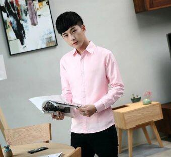 เสื้อเชิ้ตแขนยาวผู้ชายสไตล์เกาหลี (สีชมพูเสื้อแขนยาว)