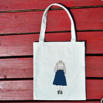 ฮาราจูกุการ์ตูนตัวอักษรถุงผ้าถุงผ้าใบ (ผ้ายีนส์กระโปรงสีขาว)