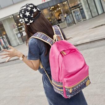 เกาหลีชายใหม่ผ้าใบกระเป๋าเป้สะพายหลังกระเป๋าสะพายไหล่ (ลายดอกกุหลาบสีแดง)
