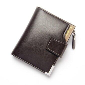 ลำลองซิปหัวเข็มขัดไตรพับกระเป๋าสตางค์ผู้ชายย่อหน้าสั้นๆกระเป๋าสตางค์ (สีน้ำตาล)