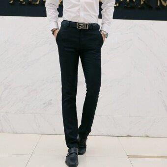 กางเกงสแล๊คผู้ชาย สไตล์เกาหลี (สีดำ)