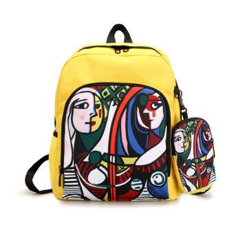 ฮาราจูกุเกาหลีหญิงโรงเรียนมัธยมกระเป๋านักเรียนกระเป๋าสะพายบุคลิกภาพ (สีเหลือง)