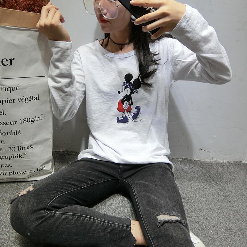 มิกกี้เมาส์เกาหลีฤดูใบไม้ร่วงฝ้ายไม้ไผ่ใหม่แขนยาวเสื้อยืด (สีขาว)