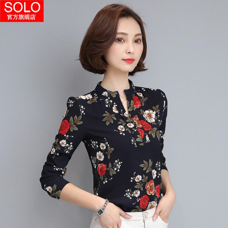 เสื้อชีฟองเกาหลีใหม่เสื้อขนาดเล็กหญิงแขนยาว (สีฟ้าดอกไม้ด้านล่าง)