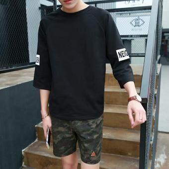 เสื้อยืดโอเวอร์ไซด์ผู้ชาย ฟรีไซด์ (เจ็ดพิมพ์สีดำ (ชิ้นเดียว))