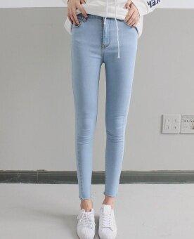 เวอร์ชั่นเกาหลีสีดำใหม่แน่นกางเกงยีนส์เอว (แสงสีฟ้า)