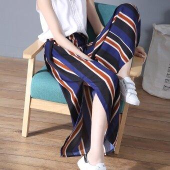 ชีฟองลำลองหญิงใหม่กางเกงชายหาดกางเกงขากว้าง (สีฟ้า)