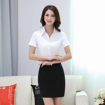 ผ้าฝ้ายป่าธุรกิจเสื้อขนาดใหญ่เสื้อเชิ้ตสีขาว (เสื้อเชิ้ตสีขาว + สีดำกระโปรงตะวันตก)