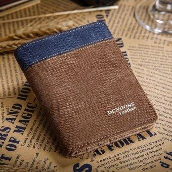 กางเกงยีนส์ใหม่ของผู้ชายส่วนบางกระเป๋าเงิน (สีกาแฟแนวตั้งสองเท่า)