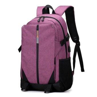 เกาหลีชายความจุขนาดใหญ่กระเป๋านักเรียนกระเป๋าสะพายไหล่ (สีม่วง)