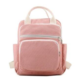 ผ้าใบแบบพกพาหญิงสบายกระเป๋านักเรียนกระเป๋าสะพายไหล่ (สีชมพู)