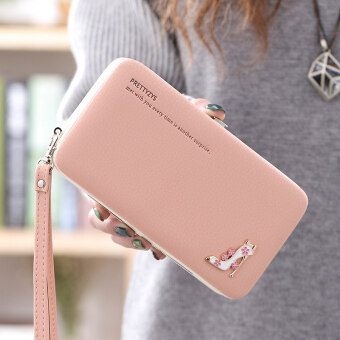 บ้านเกาหลีหญิงที่มีสายคล้องมือแพคเกจโทรศัพท์มือถือใหม่กระเป๋าสตางค์ (สีชมพู)