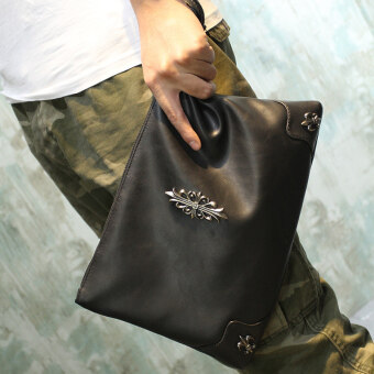เกาหลีใหม่ของผู้ชายข้ามคลัทช์หนังนิ่มกระเป๋ากระเป๋าถือ (แนวตั้งข้ามสีดำ) (แนวตั้งข้ามสีดำ)
