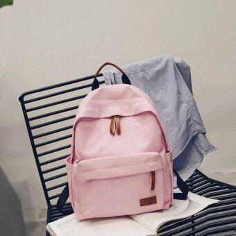 โรงเรียนมัธยมนักเรียนมัธยมผ้าใบกระเป๋าสะพายกระเป๋าถือ (ส่วนเล็กๆสีชมพูอ่อน)