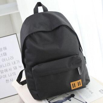 ญี่ปุ่นผ้าใบหญิงนุ่มกระเป๋าสะพายกระเป๋าเป้สะพายหลัง (สีดำ)