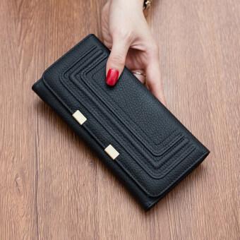 เกาหลีหนังใหม่หญิงกระเป๋าสตางค์นางสาวกระเป๋าสตางค์ (คลาสสิกสีดำ)