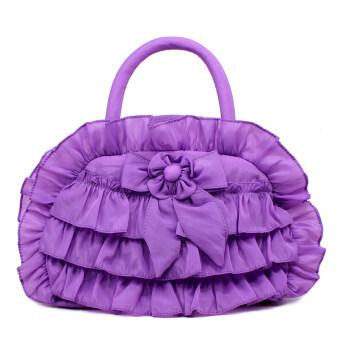 ในกระเป๋าเวอร์ชั่นเกาหลีสีทึบลูกไม้ถุงกระเป๋าถือ (สีม่วง)