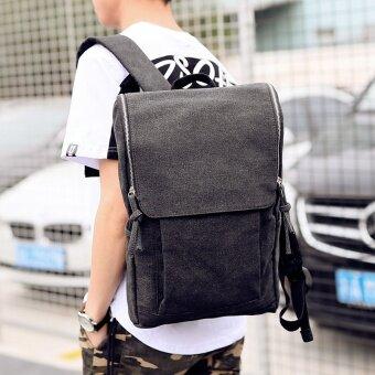เกาหลีใหม่กระเป๋าเป้สะพายหลัง (สีดำและสีเทาผ้าใบความกังวลร้านค้าปกม้วน)