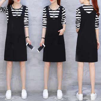 ชุดเดรสสตรีเอื้ยมยาวปานกลางดูผอมสไตล์เกาหลี (ลายเสื้อ + กระโปรงสีดำ)