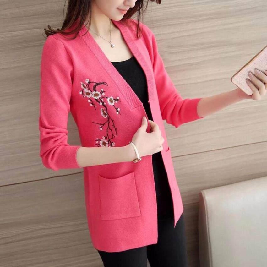เสื้อคลุมไหมพรมคลุมแต่งลายซากุระ สีชมพูสด