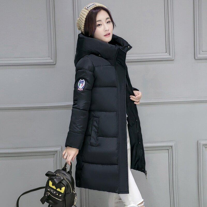 เกาหลีสีทึบหญิงฤดูหนาวคลุมด้วยผ้าแจ็คเก็ตเบาะลง (สีดำ)