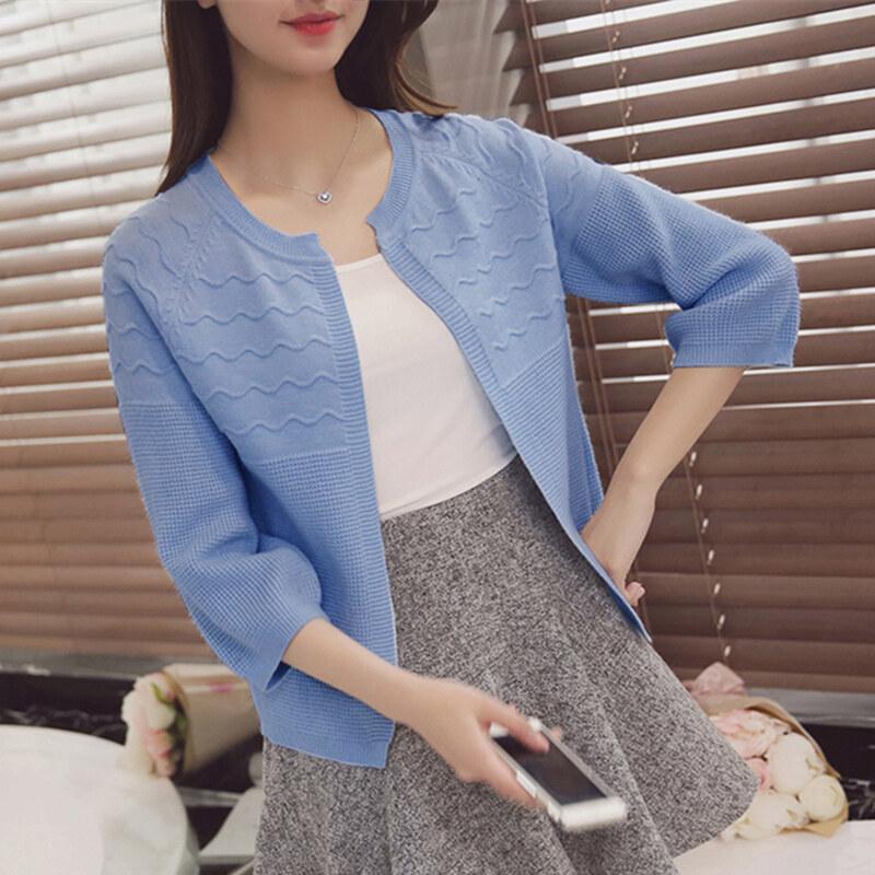 หลวมฤดูใบไม้ร่วงใหม่เกาหลีเสื้อยืด (สีฟ้า)