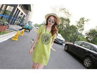 เวอร์ชั่นเกาหลีของผ้าฝ้ายใหม่ยาวส่วนเสื้อยืด (สีเขียว)