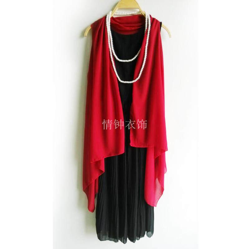 ฤดูใบไม้ร่วงและฤดูหนาวชีฟองหญิงลูกไม้ฤดูร้อนแขนกุดเวตเตอร์ถักผ้าคลุมไหล่ขนาดเล็กแจ็คเก็ต (สีแดง)