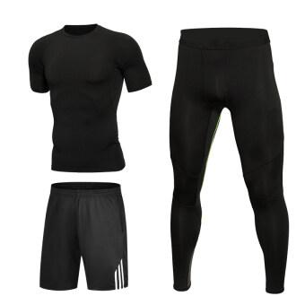 ชายสามวิ่งจ๊อกกิ้งถุงน่องแห้งเร็วกีฬาเสื้อผ้าออกกำลังกาย (สามชิ้น-แขนสั้นสีดำ)