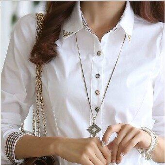 ชีฟองแขนยาวหลาใหญ่ทำงานเสื้อผ้าสีขาวเสื้อ (สีขาว)