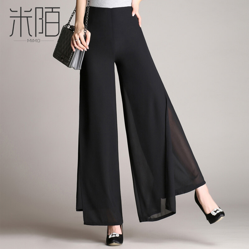 ชีฟองลำลองหญิงฤดูร้อนฤดูใบไม้ร่วงกางเกงขายาวกางเกงขากว้าง (สีดำ)