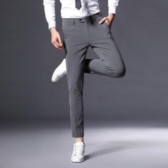 เกาหลีผู้ชายฟุตกางเกงผู้ชายกางเกงลำลอง (สีเทา)