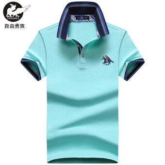 หลวมลำลองผ้าฝ้ายชุบชายมีปกเสื้อโปโลเสื้อยืด (ท้องฟ้าสีฟ้า)