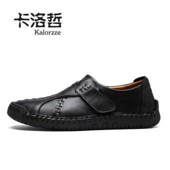 รองเท้าลำลองหนังระบายอากาศได้ลื่นรองเท้าฤดูใบไม้ร่วงของผู้ชาย (ชายรุ่น + สีดำ)
