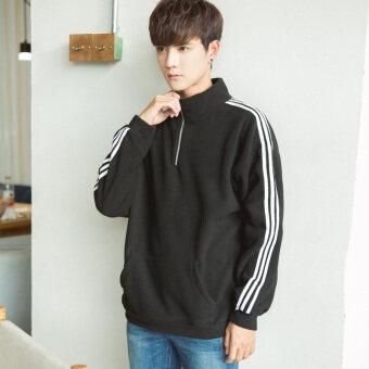 คนรักฤดูใบไม้ร่วงและฤดูหนาวลมใหม่เกาหลีเสื้อยืดกีฬาเสื้อผ้า (สีดำ)
