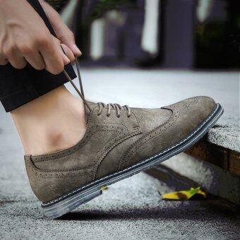 วัวอังกฤษฤดูใบไม้ร่วงของผู้ชายรองเท้าลำลอง, รองเท้าหนังขนาดเล็ก (สีกากี)