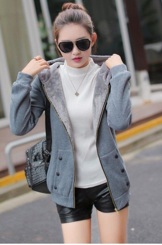 เวอร์ชั่นเกาหลีบวกกำมะหยี่หญิงส่วนยาวเวตเตอร์ถักหนาคลุมด้วยผ้าเสื้อกันหนาว (สีเทา)
