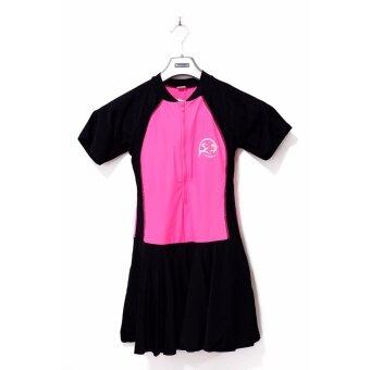 ชุดว่ายน้ำหญิงวันพีซ แขนสั้น-กระโปรง สีดำสลับชมพู