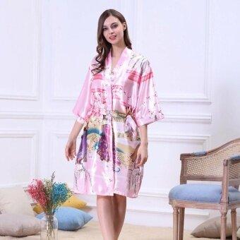 ชุดนอนเสื้อคลุมกิโมโน ลายญี่ปุ่น สีชมพูอ่อน