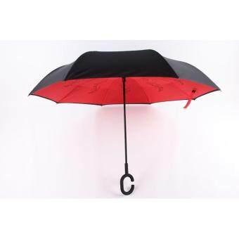 ร่มกลับด้าน กางร่มรถไม่เปียก ด้ามจับตัวซี กันยูวี (สีแดง)