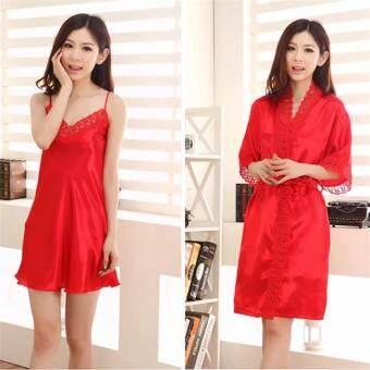 ชุดนอนเซ็ทลูกไม้เสื้อคลุมและชุดนอนสายเดี่ยวเข้าเซ็ทกัน สีแดง